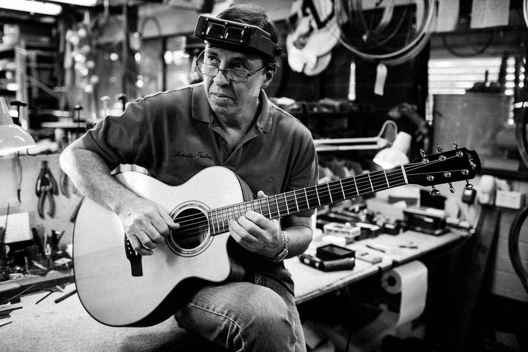 This is Chris Melville of Melville Guitars playing one of his 000 model acoustic guitars